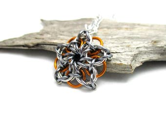 Chainmail Star - Star Chainmaille Pendant - Celtic Star Pendant Necklace - Grey & Orange Star Pendant