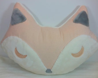 Soft Pink, White and Grey Fox Plush Accent Throw Pillow
