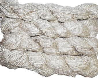 Recycled  Sari Silk Yarn of white Himalayan free shipping