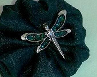 Dragonfly / Green /  St Patrick's Day / Yo Yo hair clip.