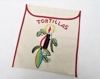 Vintage Food Pouch   Tortilla Warmer   Tortilla Basket   Embroidered Fabric Envelope   Kitchen Storage