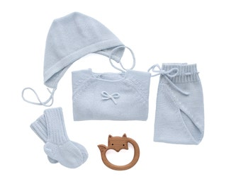 Knitted baby set. Sweater, diaper cover, cap, and socks. Soft blue. Newborn clothes. 100% Merino. READY to SHIP size newborn.