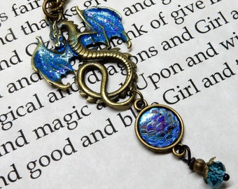 Dragon Necklace, Blue Dragon, Dragon Jewelry, Dragon Pendant, Once Upon A Time