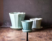 Vintage Set of Three Light Blue and Aqua Pottery Planters with Integrated Saucers - Midcentury Decor
