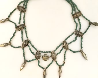 1990s GREEN and SILVER Beaded Layered Multi-Strand Necklace