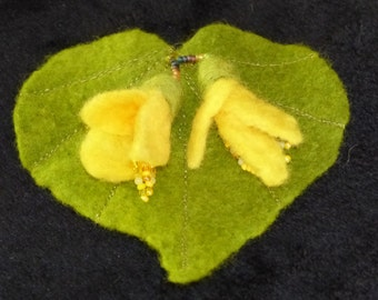 Felted Kowhai Flower Brooch  on Kawakawa Leaf with Beads from New Zealand