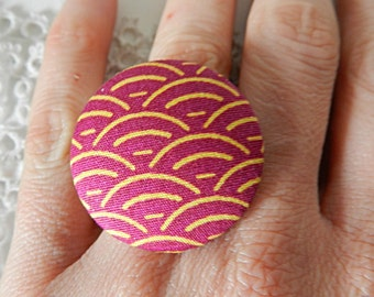 Adjustable ring in Japanese  fabric
