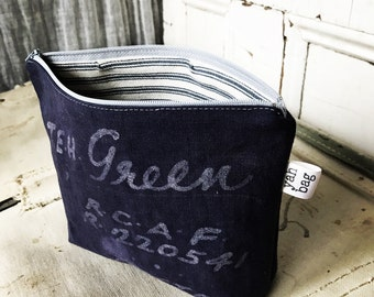 GREEN - reconstructed vintage duffle bag zippered pouch