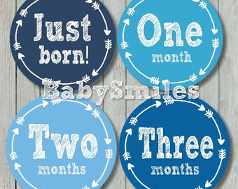 FREE GIFT Monthly Baby Stickers Baby Month Stickers Baby Photo Stickers Monthly Milestone Stickers Tribal Arrows Month Stickers Baby Boy