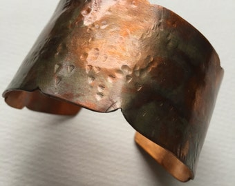 Flame Painted, Etched and Forged Copper Cuff Bracelet