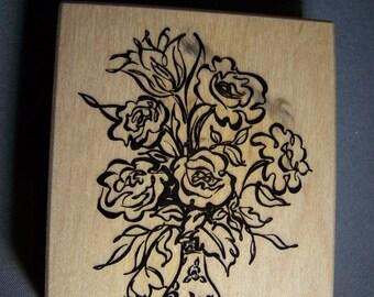 PSX Rubber stamp; G-3005 vase of roses & tulips; brushstroke style