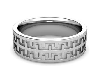 tire celtic knot wedding band in 14k solid white gold for men and women 7mm celtic design rings matching wedding band available - Tire Wedding Rings