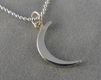 Sterling Moon Charm Necklace - Crescent Moon - Sterling Silver - Love You to the Moon