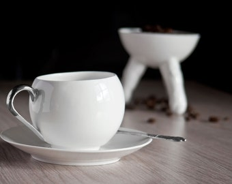 Handmade Ceramic Cup with Platinum Handle, Porcelain Coffee Cup and Saucer