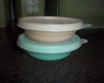 2 Vintage Tupperware Pastel Miniature Bowls or Snack Bowls with lids