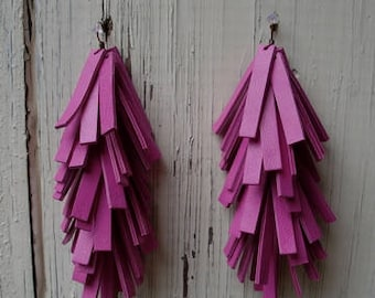 Bright Pink Leather Fringe Earrings