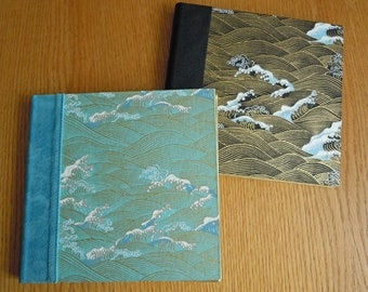 Turquoise and Gold or Black and Gold Waves in a Square Blank Guest Book or Album