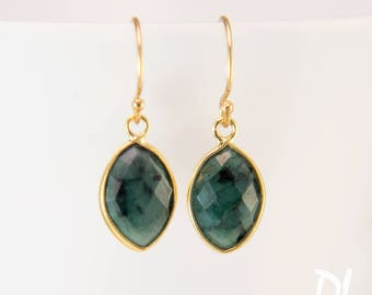 Raw Emerald Earrings - Mother's Day Gift Birthstone Earrings - May Birthstone Earrings - Small Drop Earrings - Marquise Earring