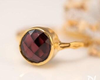 Gold Garnet Ring - January Birthstone Ring - Solitaire Ring - Gemstone Ring - Stackable Stone Ring - Gold Ring - Round Ring
