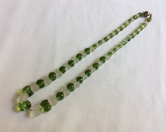 Vintage Green and Frosted Glass Bead Necklace Mother's  Day