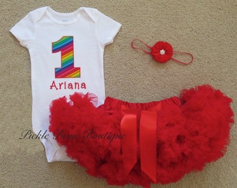 Girls Rainbow Circus Personalized First Birthday Party Outfit - Bodysuit Red Pettiskirt - Flower Headband - 1st 2nd 3rd 1 2 3 Second Third