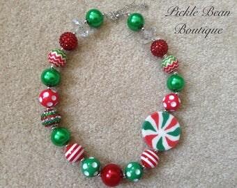 Christmas Bubblegum Necklace, Baby Girls Necklace, Chunky Necklace, Red Green Bubble Gum Necklace
