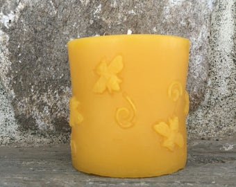 Pure Beeswax Bee Pillar 3 x 3 inches
