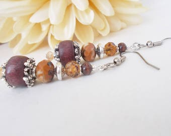 Wood Beaded Earrings, Mom Gift Mom, Boho Dangle Earrings, Bohemian Natural Hippie Jewelry Brown Earrings Womens Gift for Her Artisan Jewelry