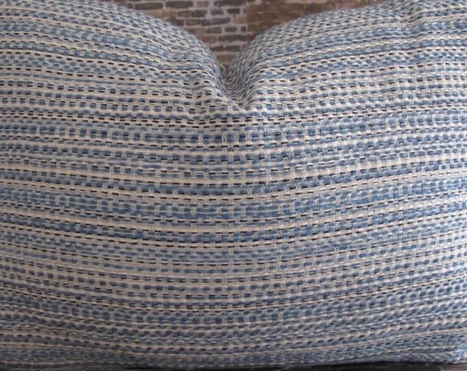 Designer Pillow Cover  - Lumbar - Tweed Light Blue and Ivory