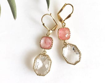 Pink Dangle Earrings in Gold. Gift. Bridesmaid Earrings. Drop Earrings. Dangle. Drop. Gift. Wedding. Bridal. Bridesmaids.