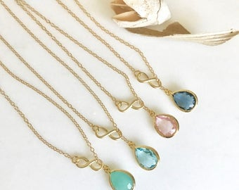 Infinity Lariat Necklace. Custom Bridesmaids Necklace with Stone Teardrop. Infinity Lariat. CHOOSE COLOR stone. Necklace. Bridesmaids Gift.