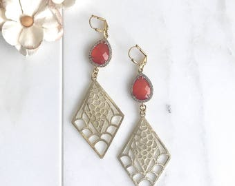 Coral Red Stone Statement Earrings in Gold.  Bold Summer Statement Earrings. Long Dangle Earrings. Big Statement Earrings.