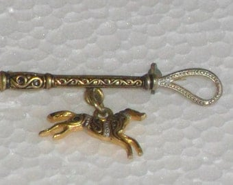 Vintage Style brooch Damascene horse whip  of the 50s