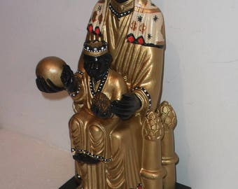 Image The  Black Madonna, The Virgin the Montserrat Black Madonna with the infant Jesus, of the 80 former Catholic religious statue.