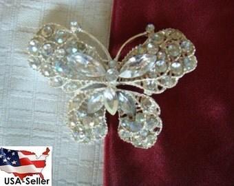 Silver Tone Butterfly Rhinestone Pin Brooch
