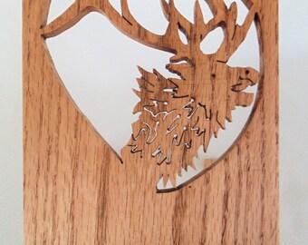 Wooden Book Holder Carved Moose Design Medium Grain Wood EXCELLENT CONDITION