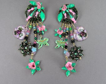 Lunch at the Ritz Flower Earrings, Rhinestone, Glitter, Pink, Black and Gold Plated, Vintage 80's, Signed and Dated