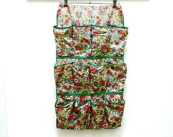 Vintage Shoe Bag - 1940s Cotton Floral - Cottage Decor - Hanging Storage Closet Organizer