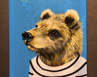 Grizzly Bear portrait on a playing cards. 2017