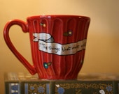 "A.A. Milne ""The things that make me different are the things that make me"" - Large, red mug - Hand-Painted with banner and flowers - Pooh"