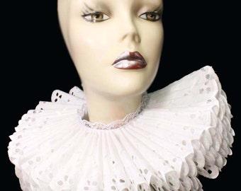 Ruffled Collar White Cotton Eyelet Tall Wide Elizabethan Neck Ruff Victorian Steampunk Edwardian
