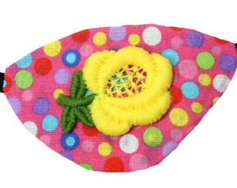 Pink Eye Patch Spring Sunshine Floral Cosplay Fashion Fantasy Yellow Polka Dot