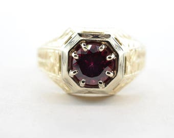 Art Deco 14K Yellow and White Gold Tall 1.82ct Rhodolite Garnet Ring - Size 11.5