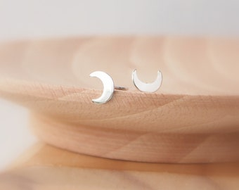 Moon Stud Earrings - Crescent Silver Studs - Half Moon Earrings - Lunar Moon Phase Earrings - Small Silver Studs - Tiny Silver Studs