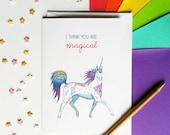 Cute Unicorn Valentine's Card 'I think you are magical'