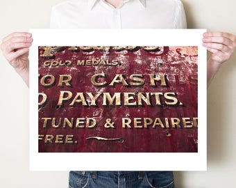 Old London signage photography print, red typographic old advertising art. Ghost sign artwork, rustic home office decor. Oversized wall art