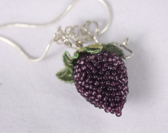 blackberry necklace Summer  fruit berry beaded pendant purple green sterling silver ooak embroidered fake food jewelry