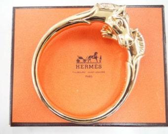 HERMES Double Horsehead Bracelet 24 Kt Gold Plated  Ravinet D'Enfert signed