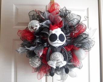 Jack skellington wreath, Jack Skellington deco mesh wreath, Jack Skellington christmas wreath, wreath, Jack Skellington