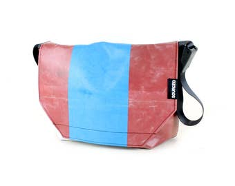 Large Messenger Bag made from Recycled Truck Tarp, Man Bag, Satchel Style Bag, MacBook Bag (60.02)